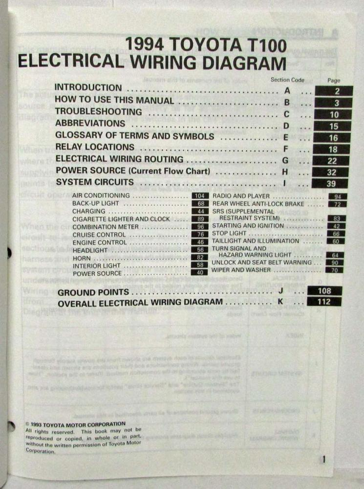 1994 Toyota T100 Electrical Wiring Diagram Manual Model Supplementrhautopaper: T100 Wiring Diagram At Gmaili.net
