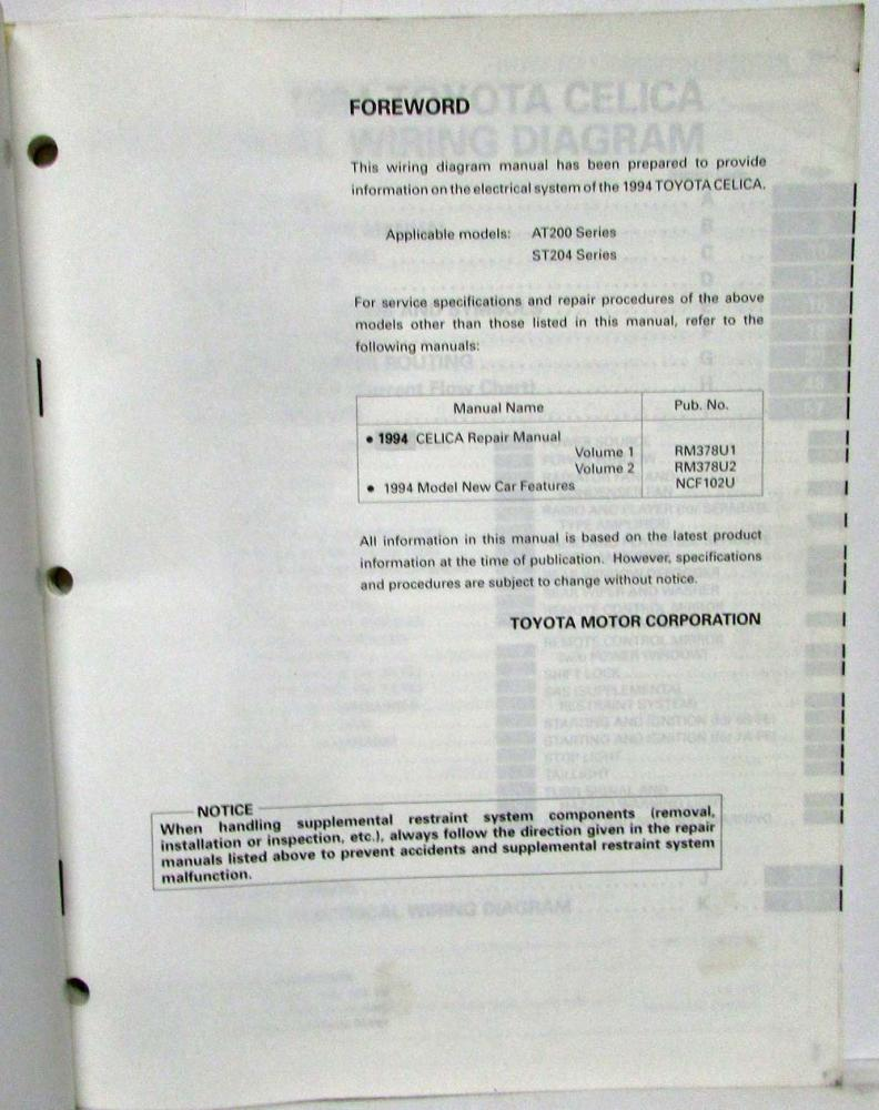 1994 Toyota Celica Electrical Wiring Diagram Manual Reference