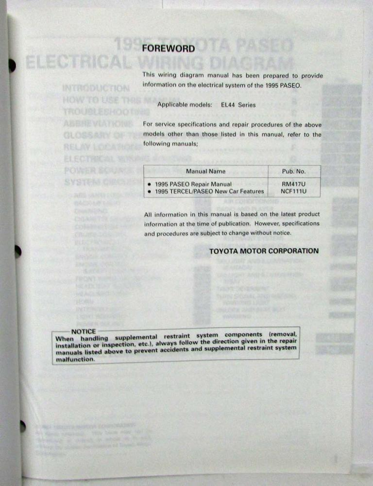 1995 toyota paseo electrical wiring diagram manual us canada rh autopaper com 1995 5 Tacoma Electrical Wiring Diagram 2013 Toyota Tacoma Wiring Diagram