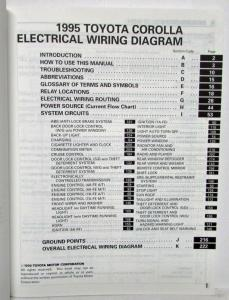 1995 Toyota Corolla Electrical Wiring Diagram Manual US & CanadaTroxel's Auto Literature