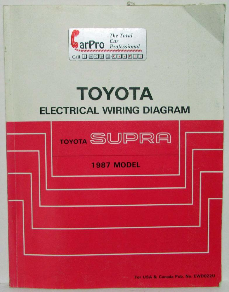 1987 Toyota Supra Electrical Wiring Diagram Manual US & Canada on