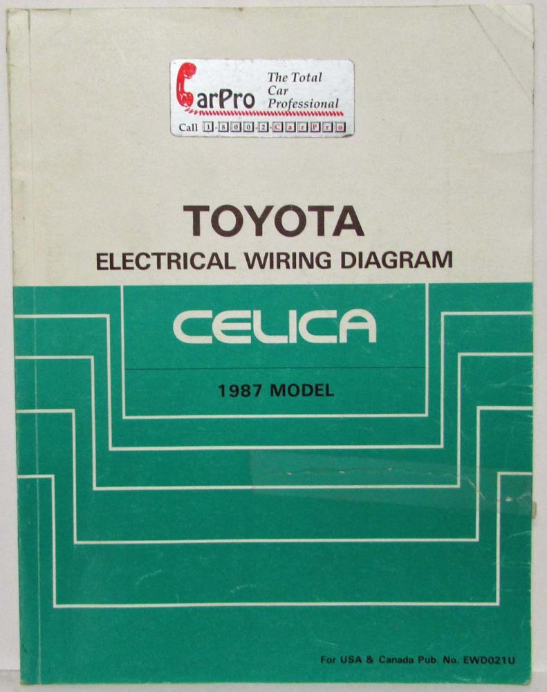 1987 Toyota Celica Electrical Wiring Diagram Manual 1986