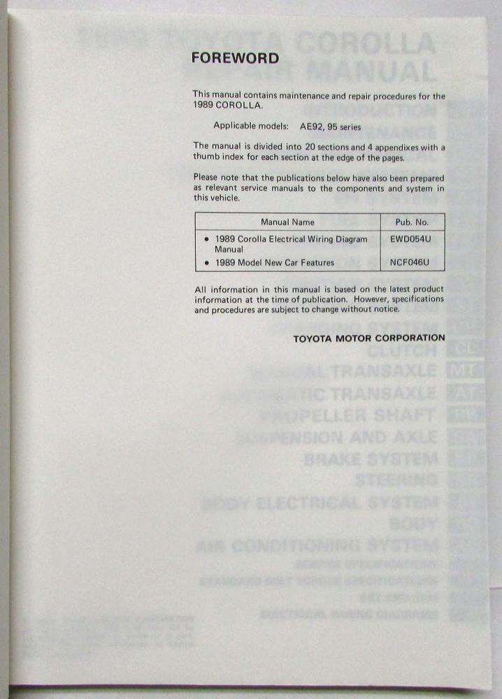 1989 Toyota Corolla Service Shop Repair Manual Us Canada