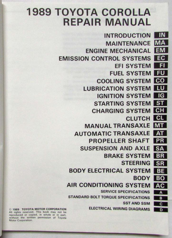 1989 toyota corolla service shop repair manual us canada rh autopaper com 1989 Toyota Corolla Engine Rebuild toyota corolla 1989 repair manual
