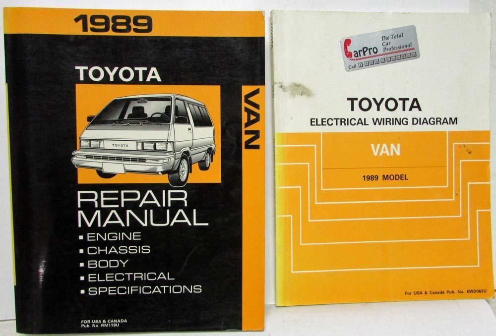 1989 toyota van service shop repair manual plus electrical wiring diagram  troxel's auto literature