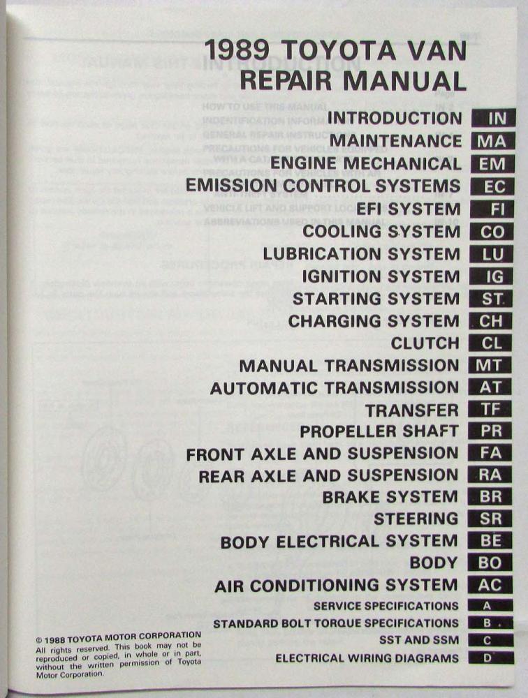 toyota van yr22 29 31 32 series shop manual 1987 1990