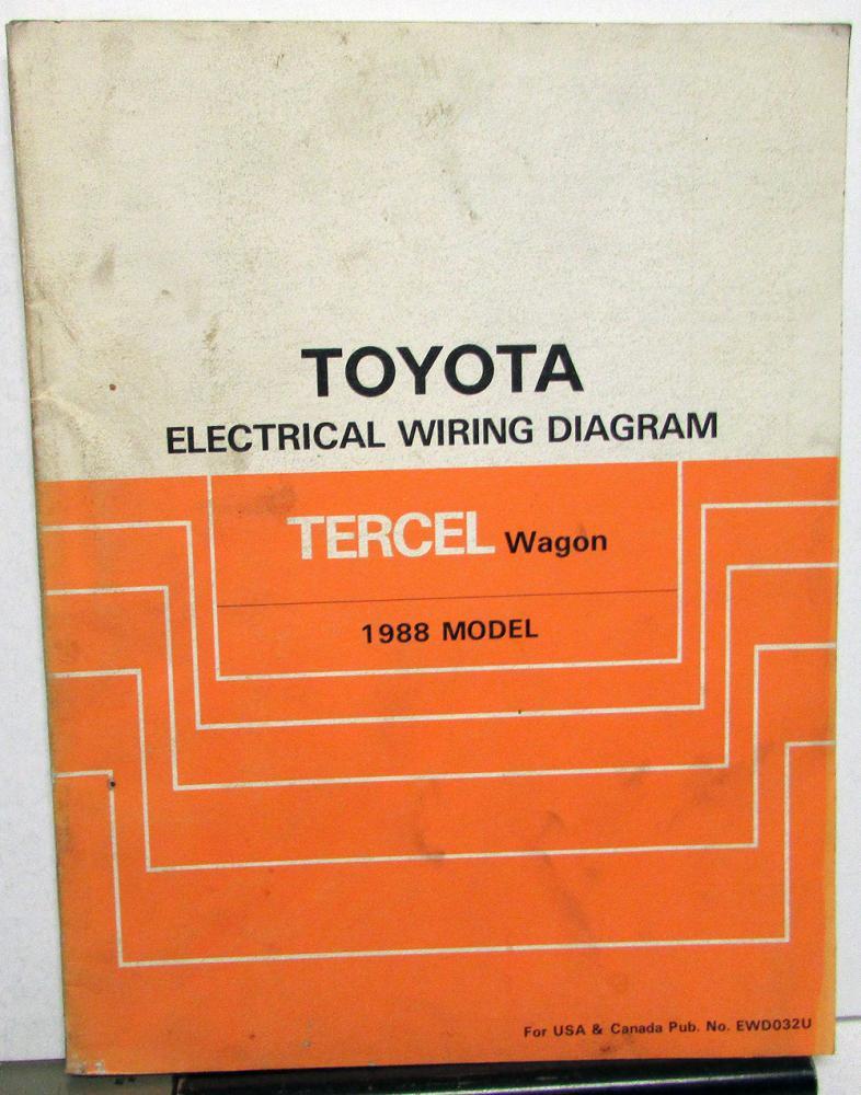 1988 Toyota Tercel Wagon Service Shop Repair Manual Electrical Wiring Diagram