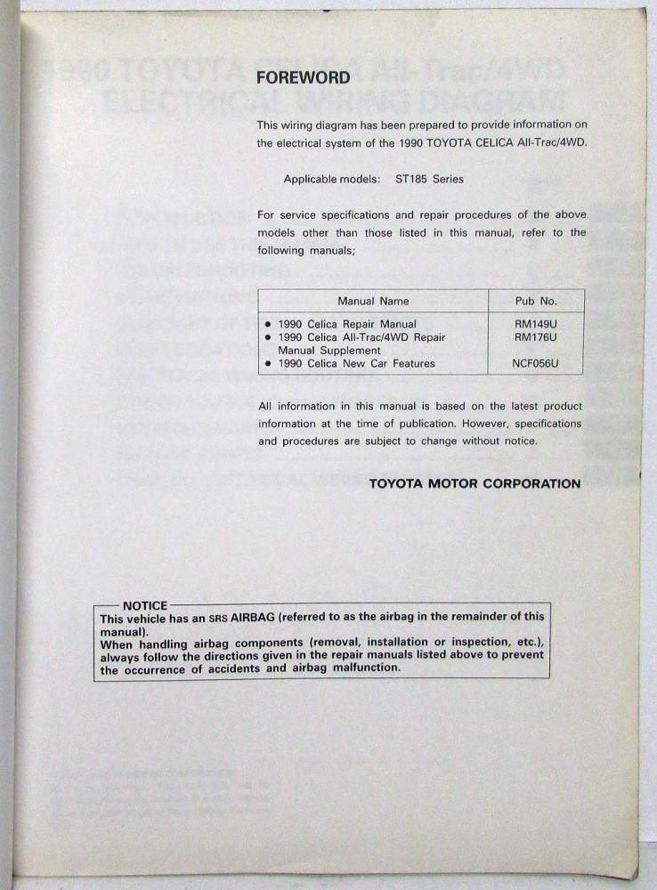 1990 toyota celica all-trac/4wd electrical wiring diagram manual us & canada