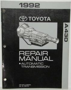 1991 Toyota Automatic Transmission Service Repair Manual A43D Truck US & Canada