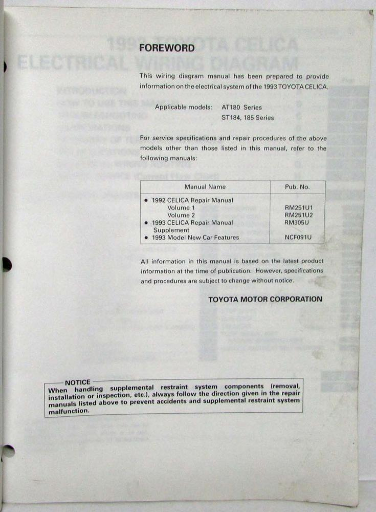 1993 toyota celica electrical wiring diagram manual us \u0026 canada1993 Toyota Celica Wireing Diagram Free 1993 Toyota Celica #20