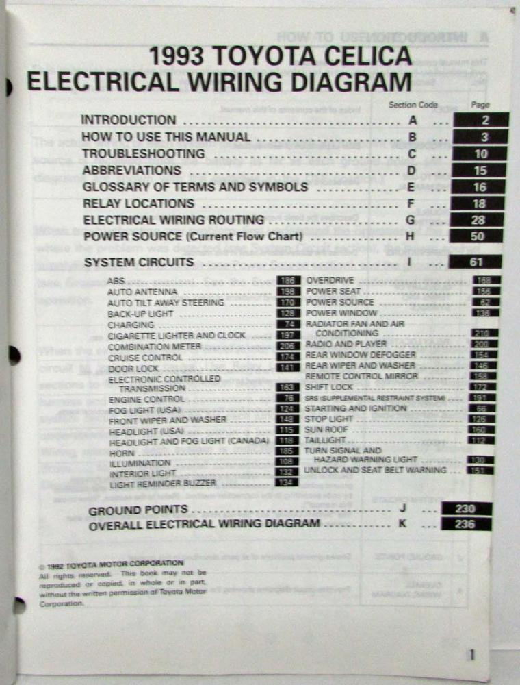 1993 Toyota Celica Electrical Wiring Diagram Manual US & Canada