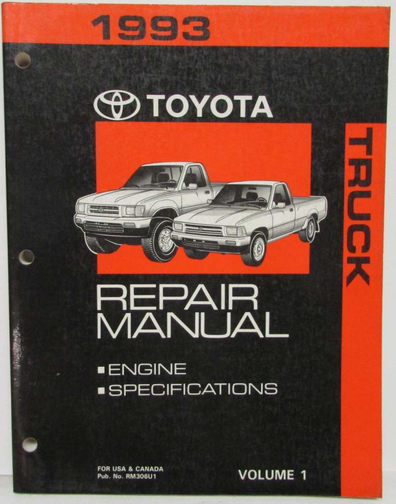 1993 toyota truck service shop repair manual volume 1 only us canada rh autopaper com 93 toyota pickup repair manual pdf 1993 toyota pickup parts manual