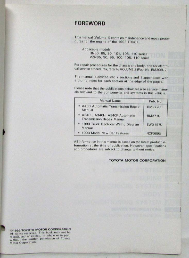 img1338_108282 1993 toyota truck service shop repair manual volume 1 only us & canada