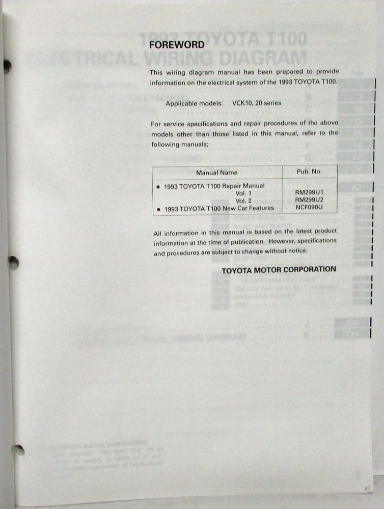 1993 Toyota T100 Electrical Wiring Diagram Manual Us  U0026 Canada