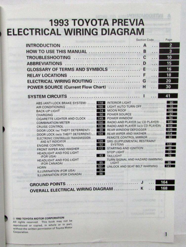 1993 Toyota Previa Electrical Wiring Diagram Manual Us Canadarhautopaper: Wiring Diagrams Relay Locations Electrical Routing Toyota At Gmaili.net