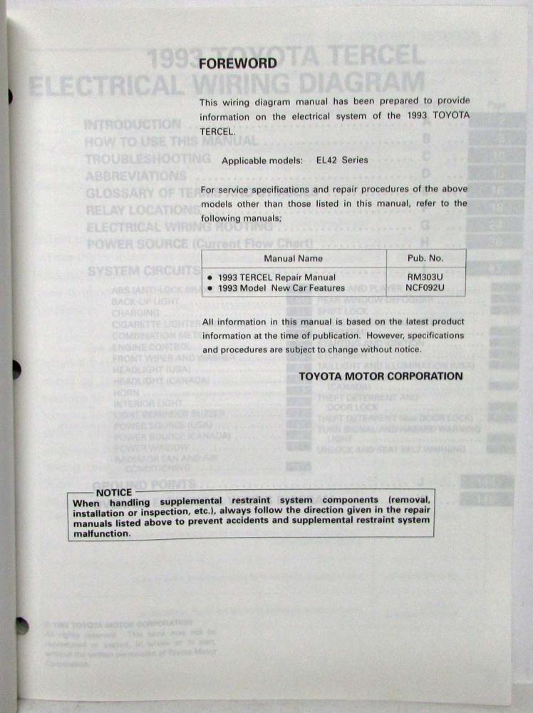 1993 toyota tercel electrical wiring diagram manual us canada rh autopaper com Pioneer Car Stereo Wiring Diagram BMW 2002 Wiring Diagram