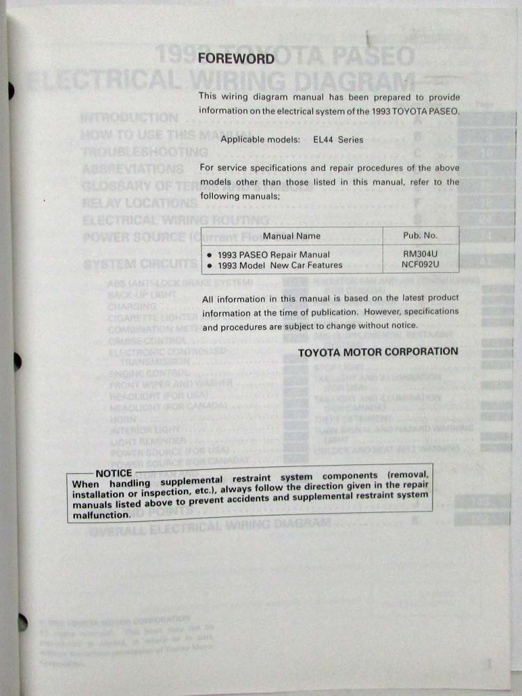 1993 toyota paseo electrical wiring diagram manual us canada publicscrutiny Choice Image