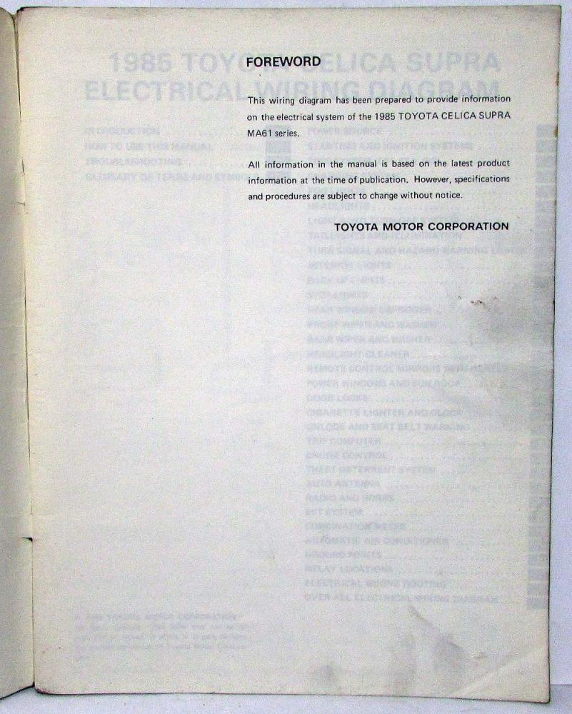 1985 Toyota Celica Supra Electrical Wiring Diagram Manual Us Canada 1977