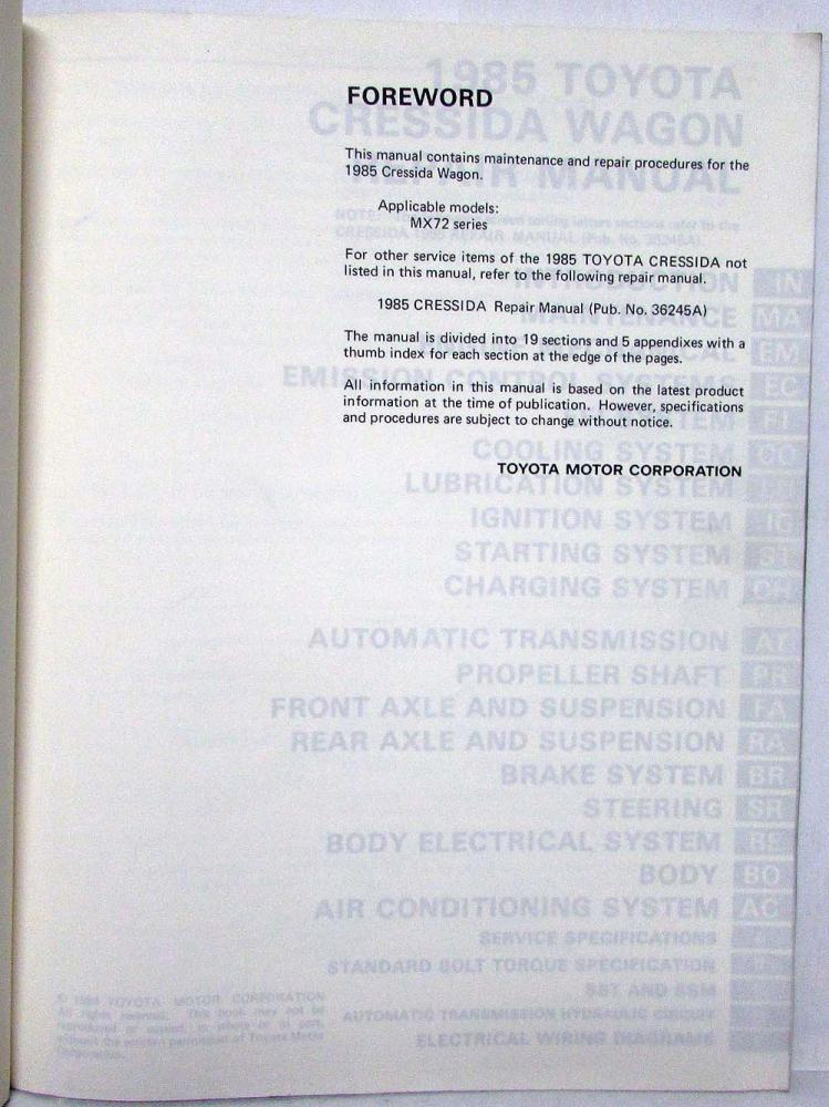 1985 toyota cressida station wagon repair manual ... trailer wiring toyota cressida 1985 1986 toyota cressida wiring diagram