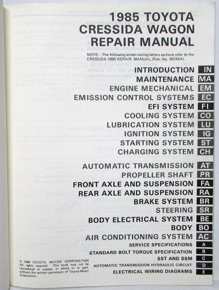 trailer wiring toyota cressida 1985 1985 toyota cressida station wagon repair manual ... #4