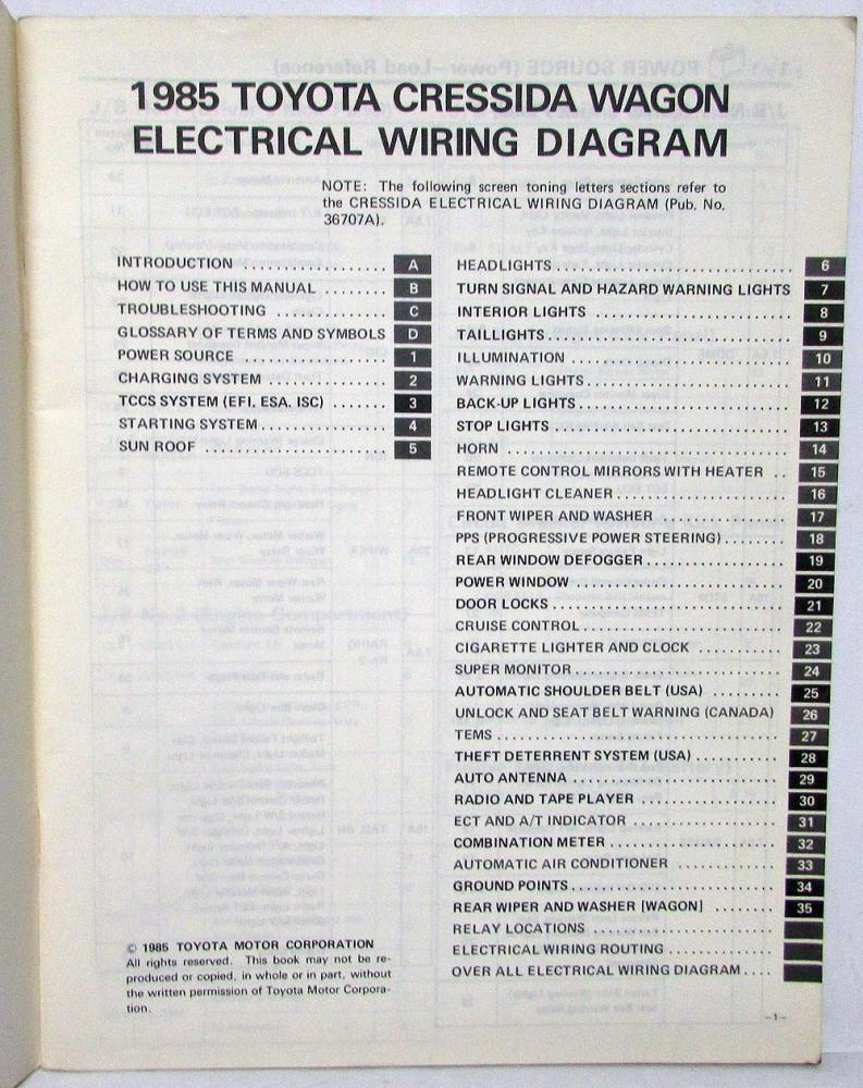 1985 Toyota Cressida Station Wagon Repair Manual Electrical Wiring Motor Diagram
