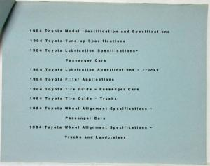 1984 Toyota Vehicle Specifications for Dealers