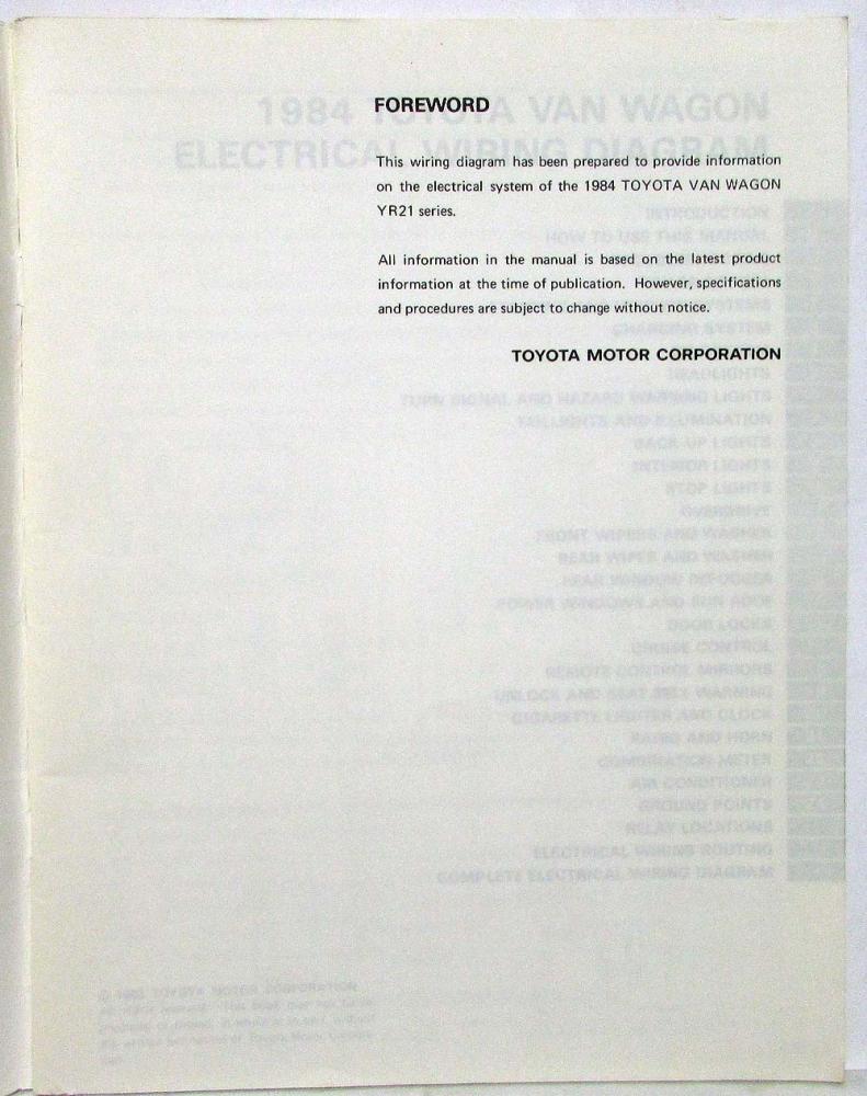 Awe Inspiring 1984 Toyota Van Wagon Electrical Wiring Diagram Manual Us Canada Geral Blikvitt Wiring Digital Resources Geralblikvittorg