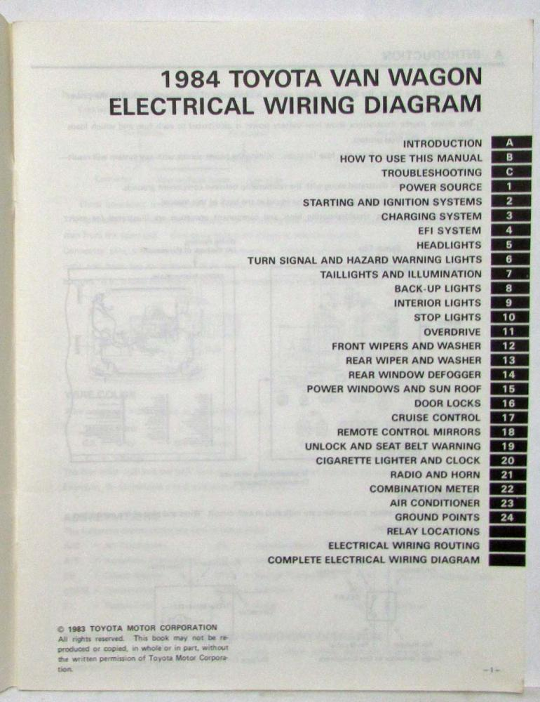 1984 toyota van wagon electrical wiring diagram manual us & canada 1993 toyota corolla wiring diagram toyota van wiring diagram #41