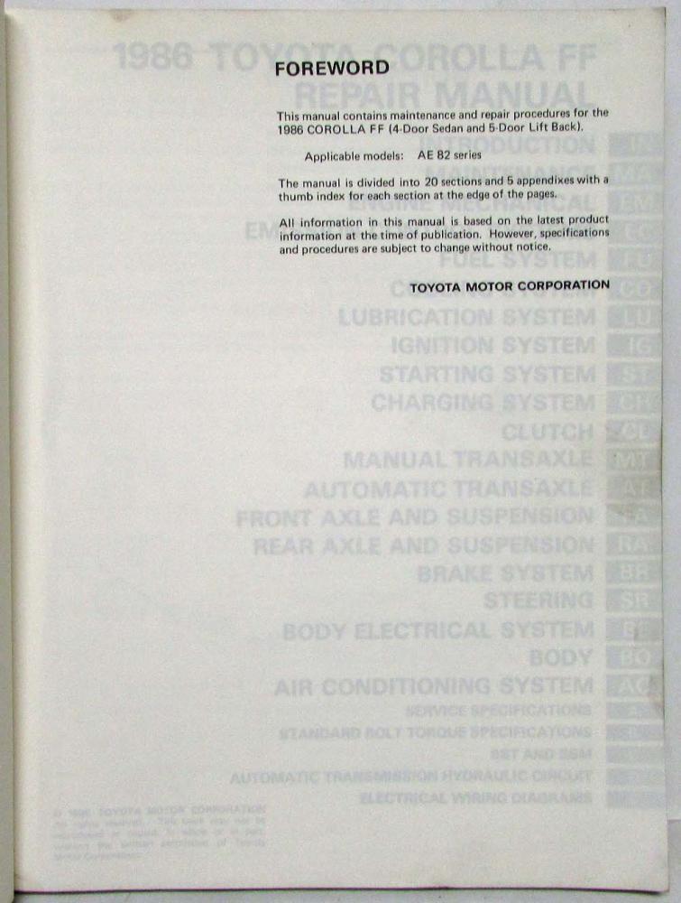 1986 Toyota Rolla Ff Shop Repair Manual Electrical Wiring