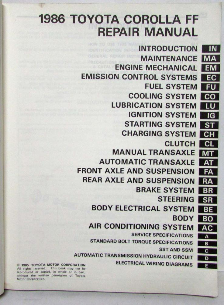 1986 Toyota Corolla Ff Shop Repair Manual Amp Electrical