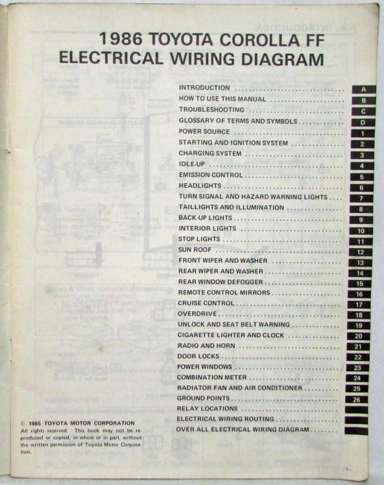 1986 Toyota Corolla Ff Shop Repair Manual Electrical Wiring Diagram