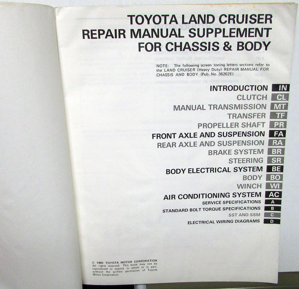 1985 Toyota Land Cruiser Service Shop Repair Manual Supplement Wiring Diagrams Chassis Body