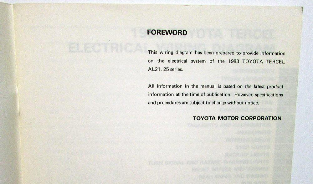 1983 Toyota Tercel Electrical Wiring Diagram Service Shop Manual Repair Original