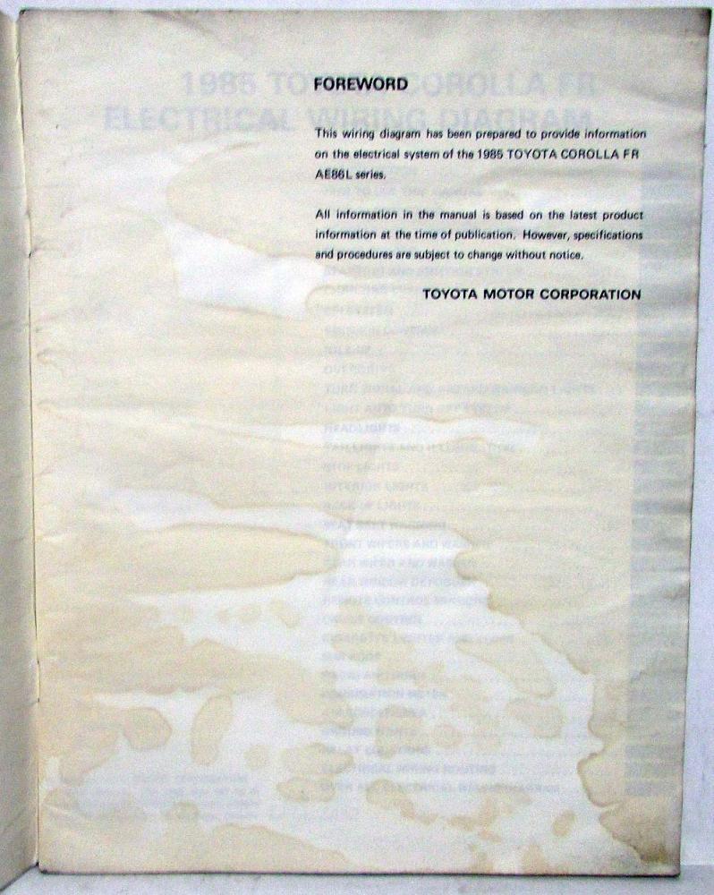 1985 Toyota Corolla Fr Electrical Wiring Diagram Manual Us Canada 85