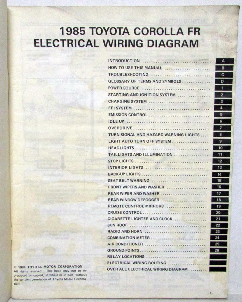 08b 1985 Toyota Corolla Wiring Diagrams Wiring Resources