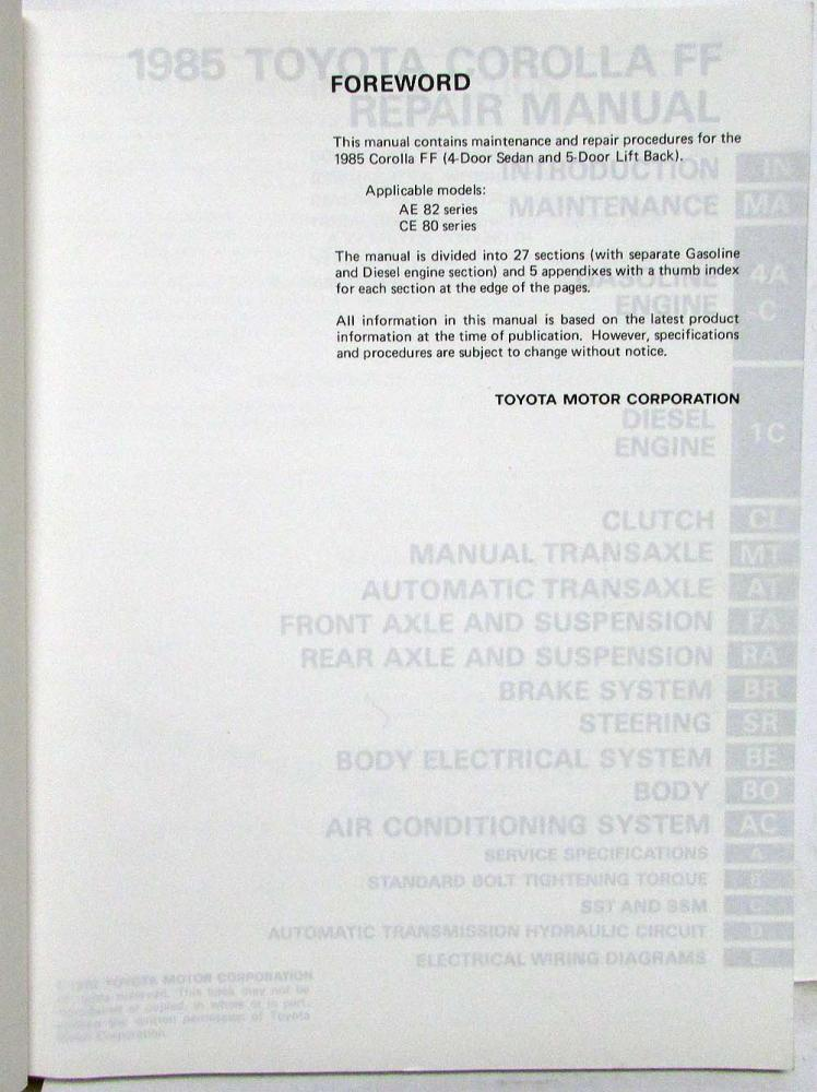 1985 Toyota Corolla FF Shop Repair Manual & Electrical ... on series circuit, friction diagram, pull system diagram, value stream diagram, series battery diagram, series capacitor, series switch diagram, two lights two switches diagram, 24 volt battery diagram, series lighting diagram, series parts diagram, dodge grand caravan electrical diagram, fly diagram, catamaran diagram, resistor circuit diagram, stick diagram, series batteries diagram, 24v series diagram, series motor, 4 wire dc motor diagram,
