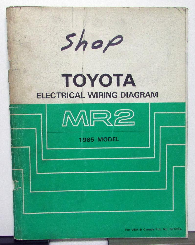 1985 Toyota MR2 Service Shop Repair Manual Electrical Wiring Diagram US & CA