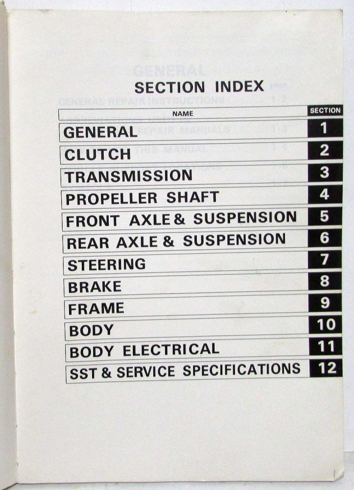 1978 Toyota Hi-Lux Service Shop Repair Manual Chassis & Body