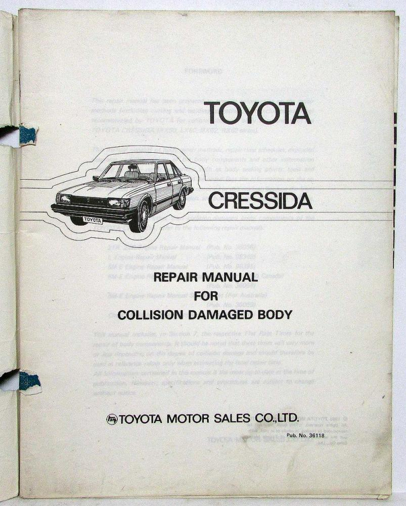 1981 Toyota Cressida Service Shop Repair Manual For Collision 1989 Fenders Damaged Body