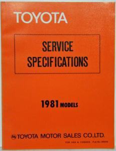 1981 Toyota Models Service Specifications Manual US & Canada