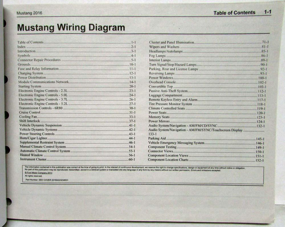 2016 Ford Mustang Gt Shelby Gt350 Electrical Wiring Diagrams Manual 1983 Diagram