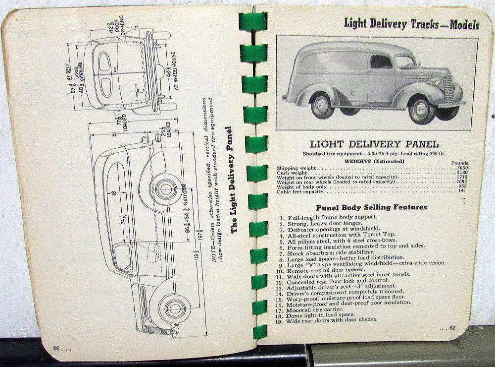 1940 Chevrolet Truck Data Book Features Options Specs Pickup Bus