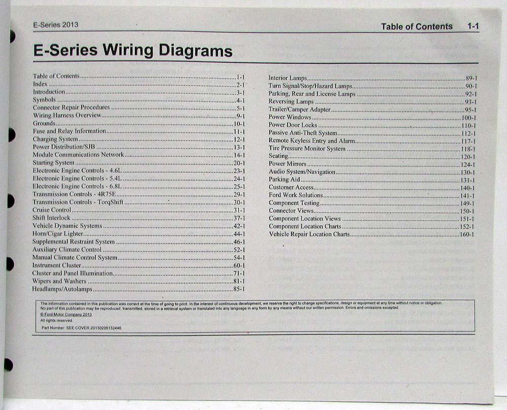 2013 Ford Econoline Club Wagon E-Series Electrical Wiring Diagrams Manual