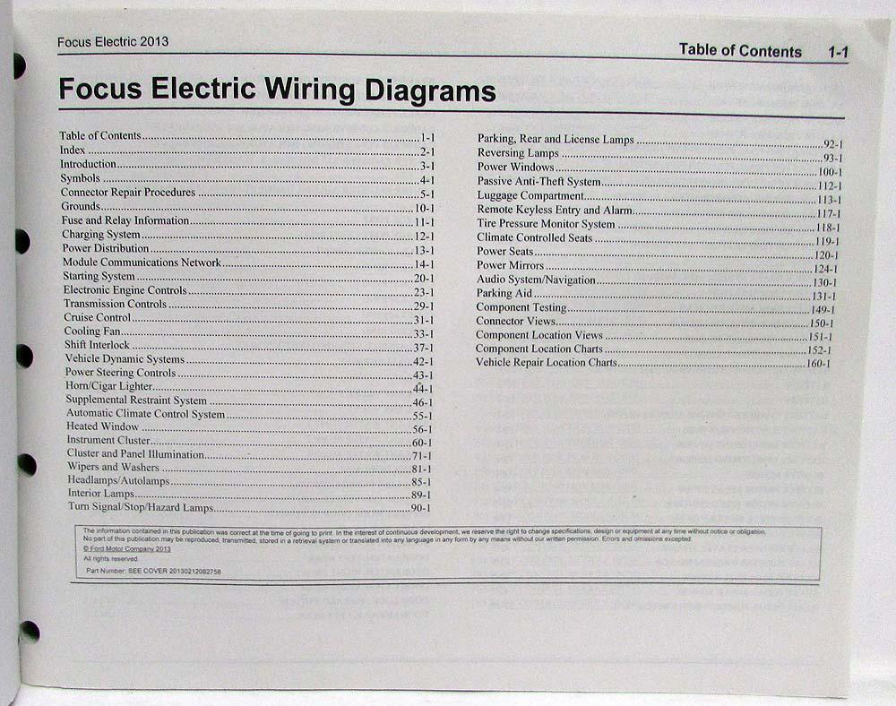 2013 Ford Focus Electric Electrical Wiring Diagrams Manual 2010 Diagram