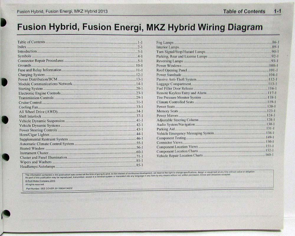 2013 Ford Fusion Energi & Lincoln MKZ Hybrid Electrical Wiring Diagrams  Manual