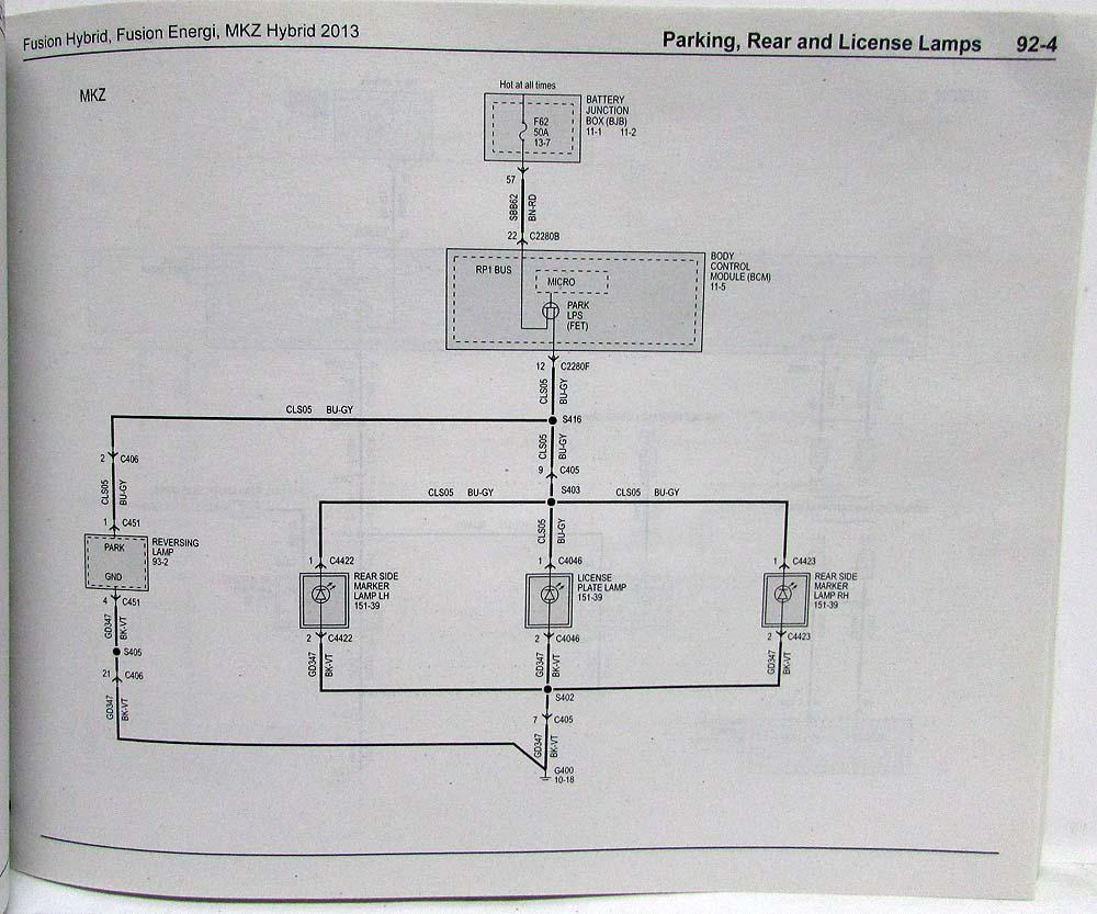 2013 Ford Fusion Energi Lincoln Mkz Hybrid Electrical Wiring Diagram Diagrams Manual