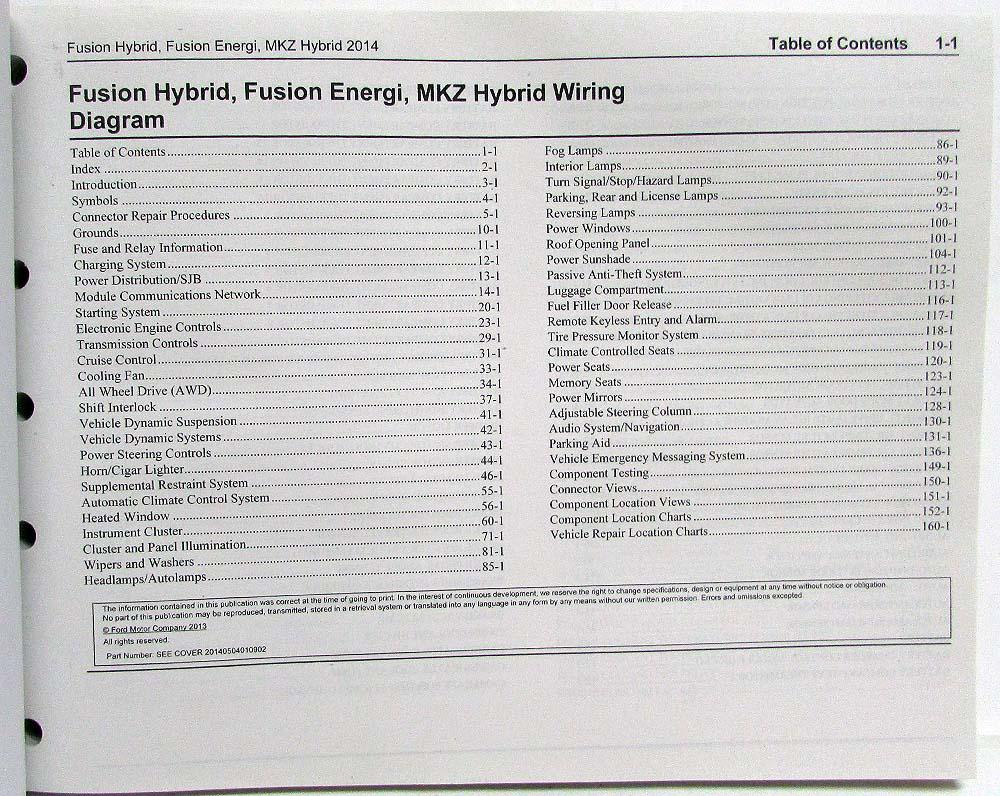 2014 ford fusion energi & lincoln mkz hybrid electrical wiring diagrams  manual