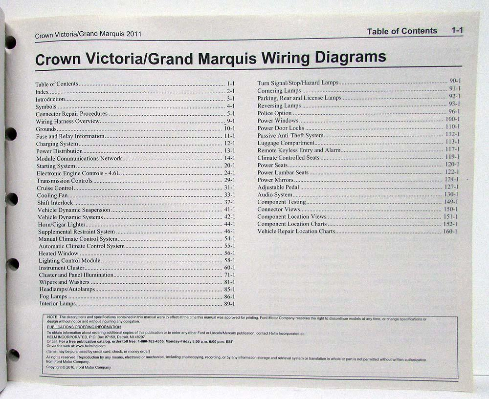 2011 Ford Crown Victoria & Mercury Grand Marquis Electrical Wiring Diagrams