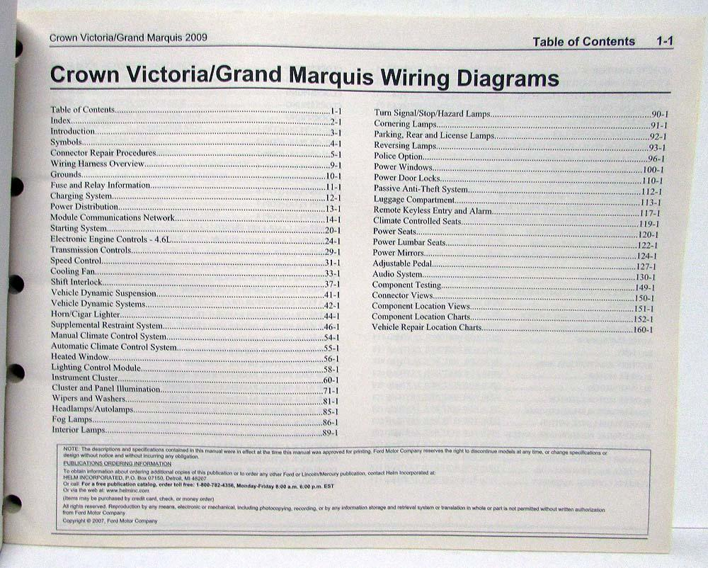 2009 Ford Crown Victoria & Mercury Grand Marquis Electrical Wiring Diagrams