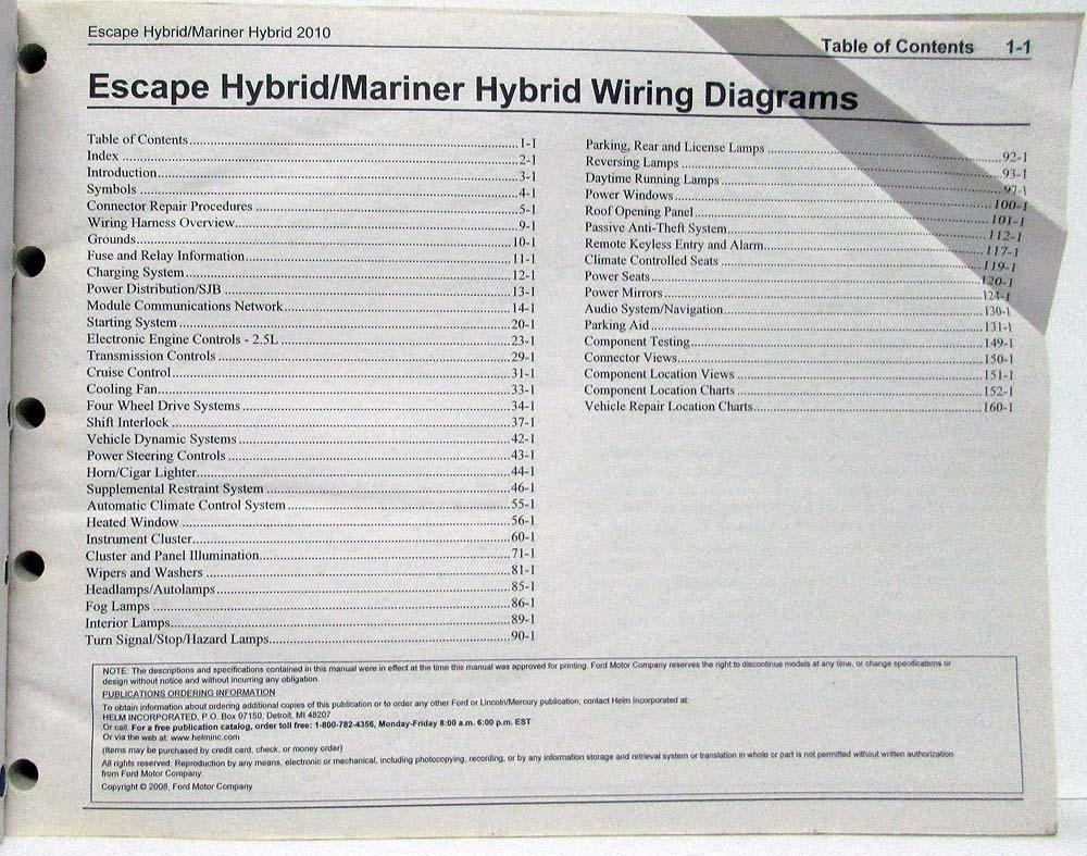 2010 Ford Escape & Mercury Mariner Hybrid Electrical Wiring Diagrams Manual